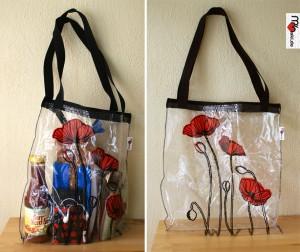 transparente Tasche mit Siebdruck