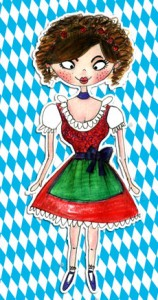 Wiesn Madl Illustration vom Maki